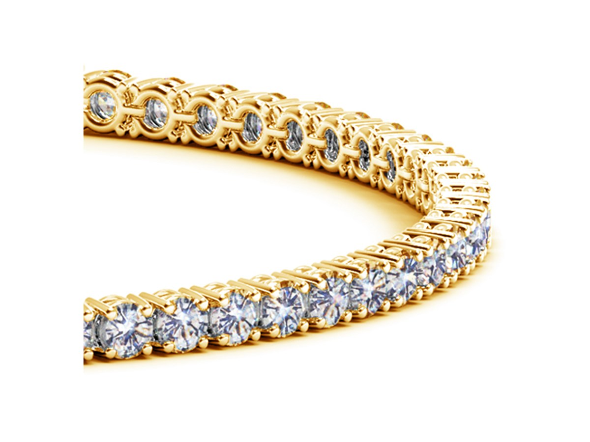 round diamond tennis bracelet in 14k yellow gold 5 cttw. Black Bedroom Furniture Sets. Home Design Ideas