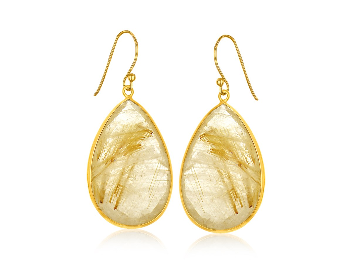 Golden rutilated quartz teardrop earrings in yellow gold for Golden rutilated quartz jewelry