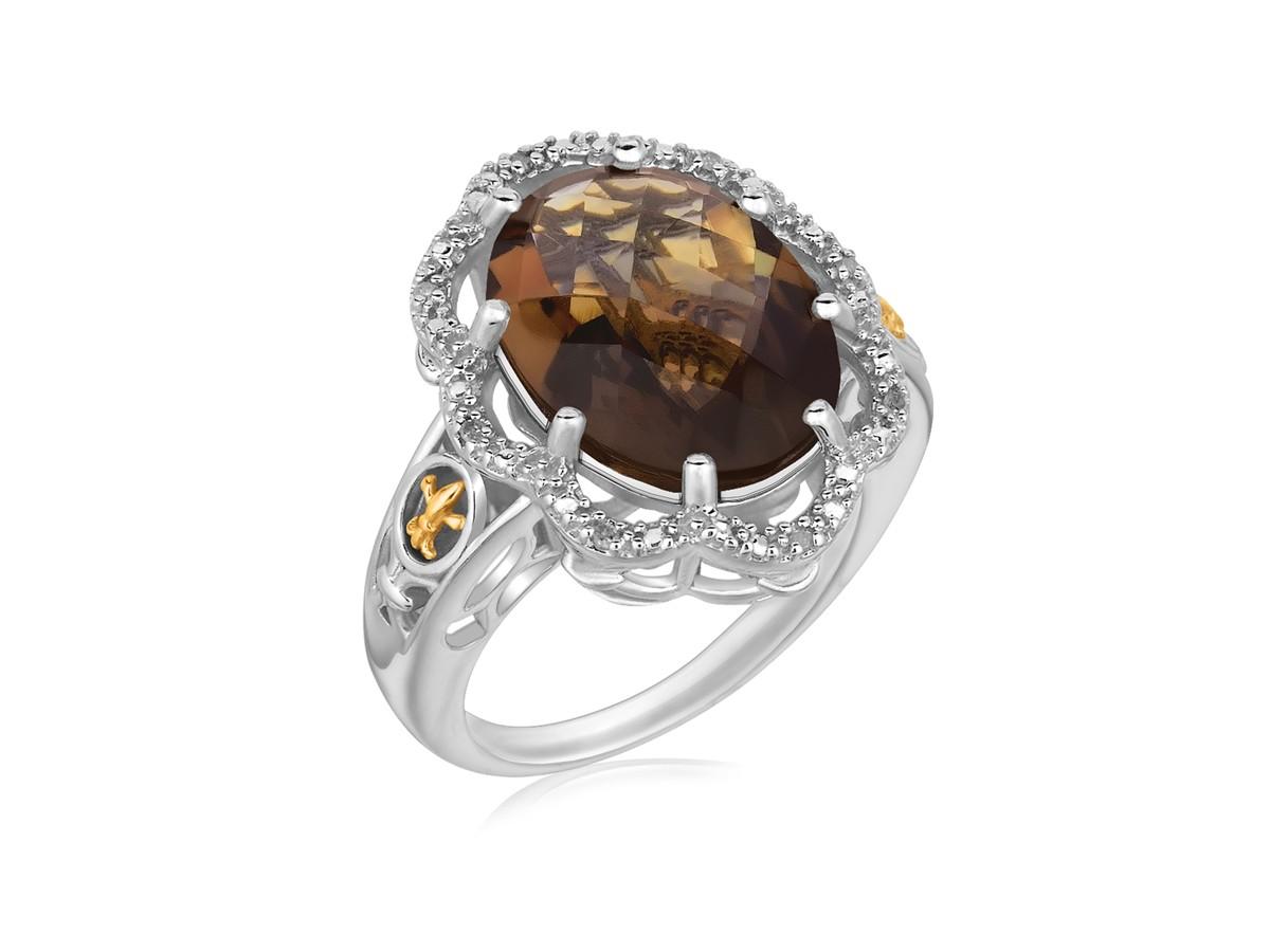 Fancy Oval Smokey Quartz And Diamond Accented Fleur De Lis