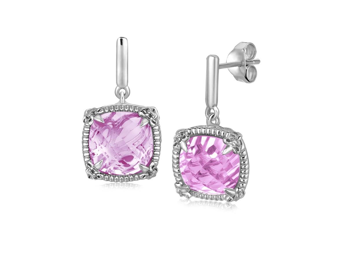 Pink Amethyst And White Sapphires Fleur De Lis Drop