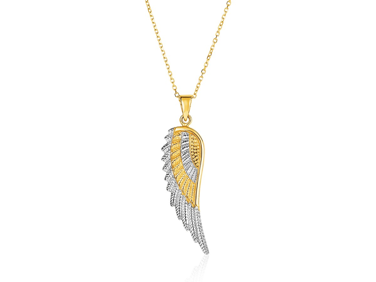 14k Two Tone Yellow And White Gold Angel Wing Pendant
