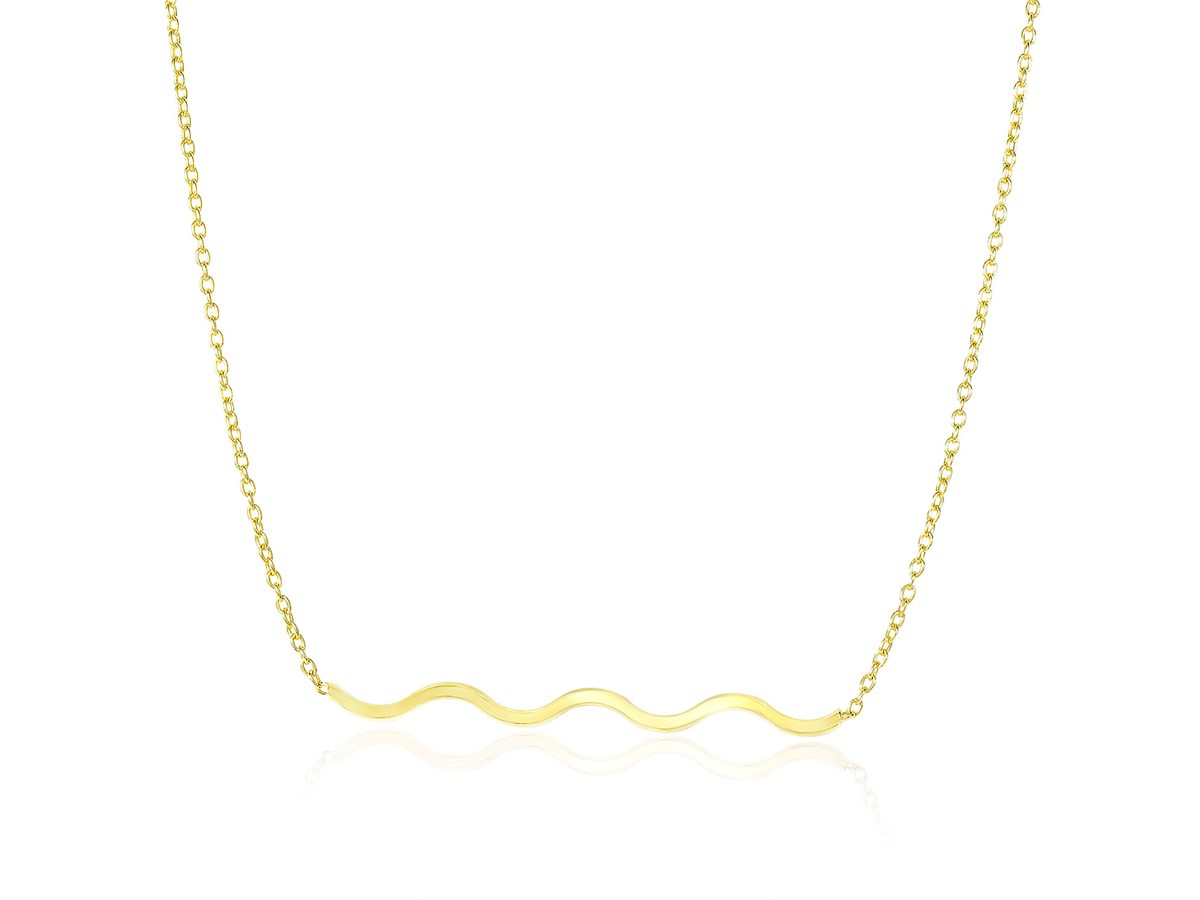 Horizontal Wave Chain Necklace In 14k Yellow Gold