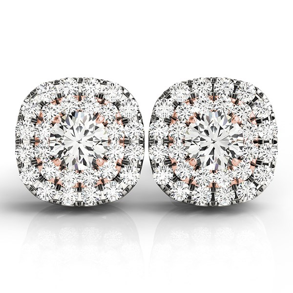 Cushion Shape Halo Diamond Earrings in 14K White and Rose Gold 3