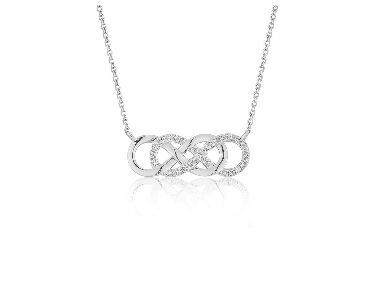 double infinity diamond pendant in 14k white gold
