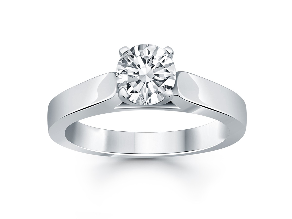 Wide Cathedral Solitaire Engagement Ring Mounting In 14k