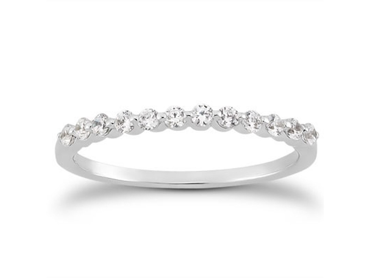 single shared prong diamond wedding ring band in 14k white With single diamond wedding ring