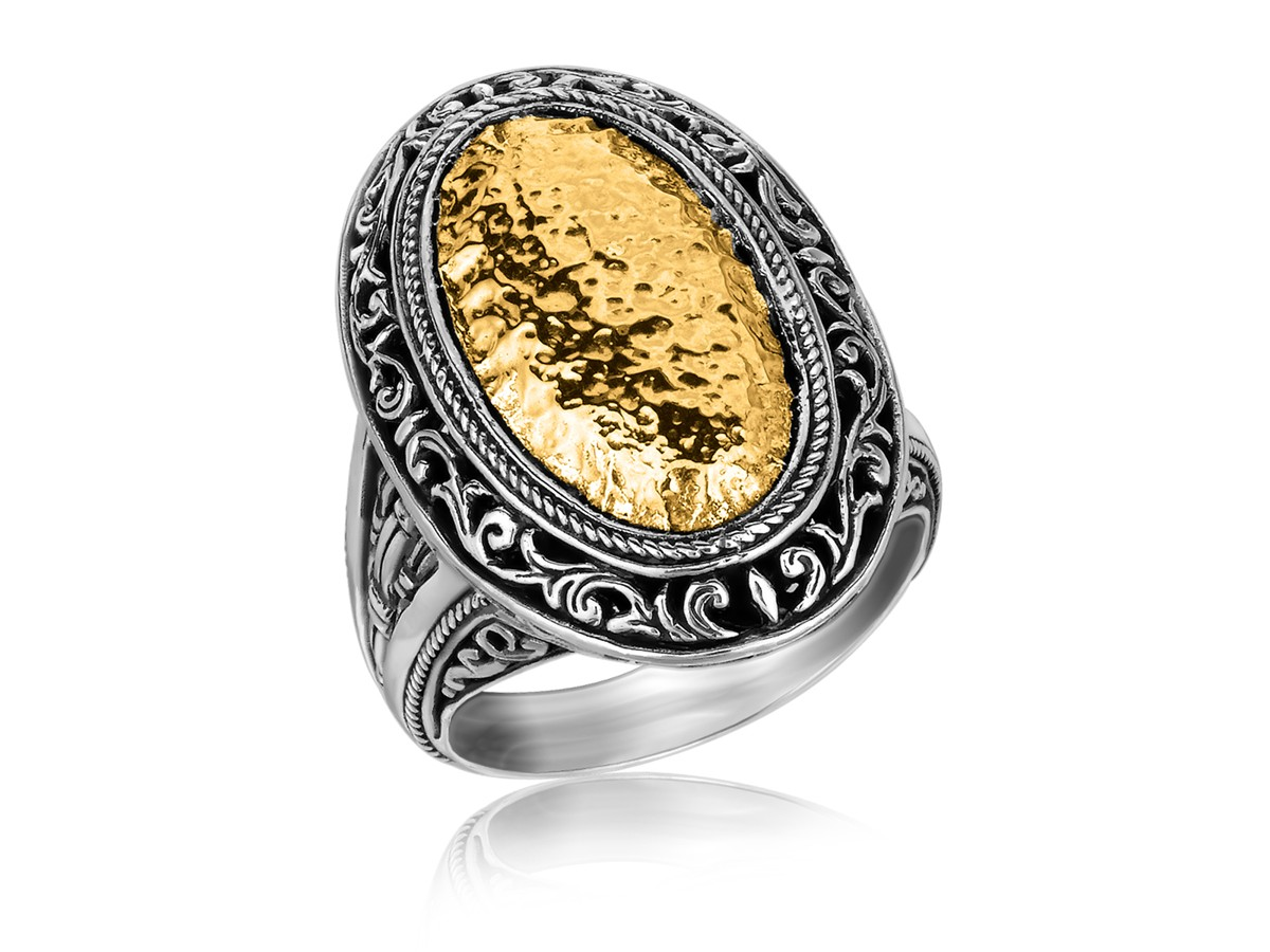 Oval Hammered Vintage Style Ring In 18k Yellow Gold And