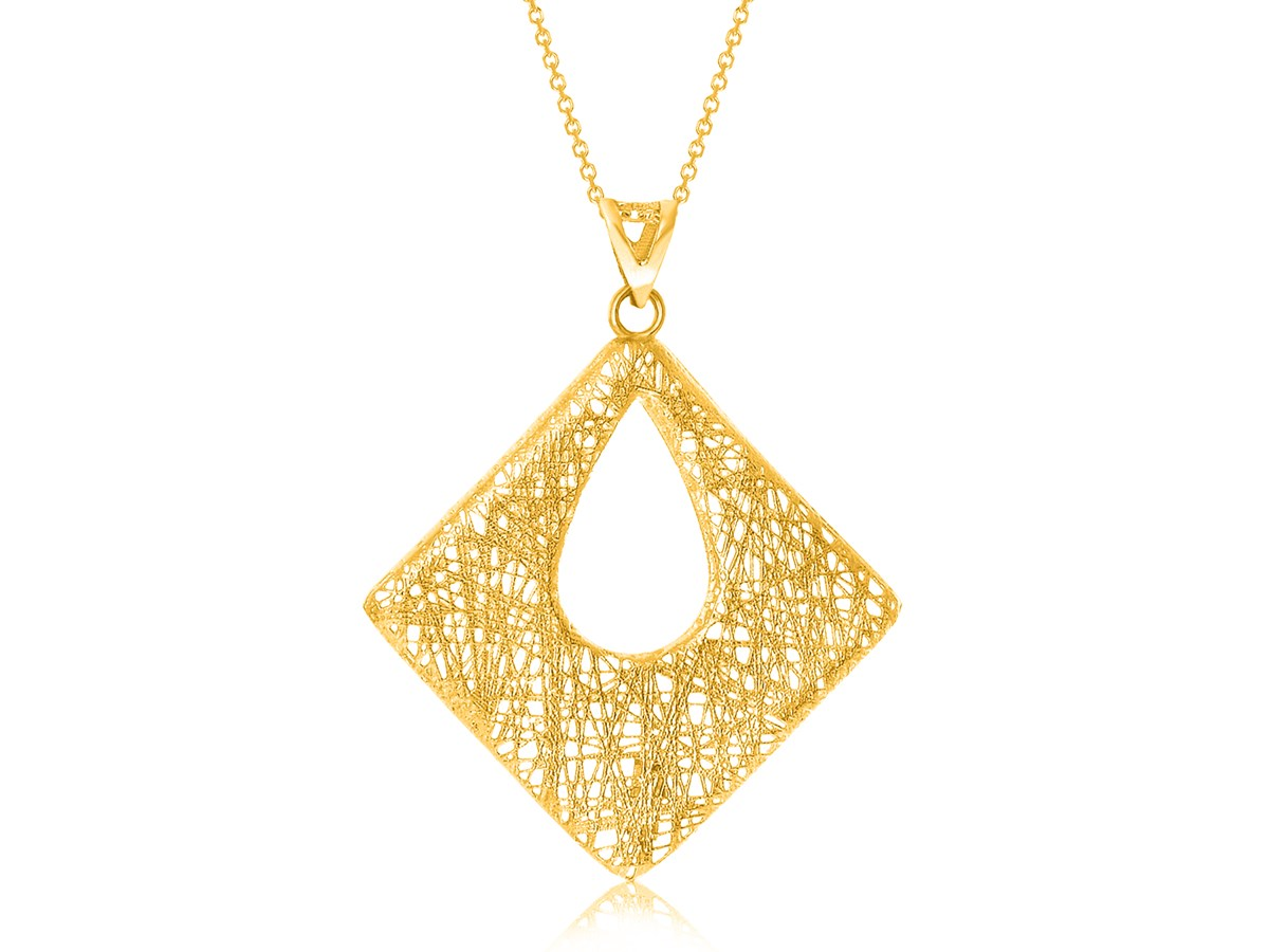 Open Diamond Shape Wire Mesh Style Pendant In 14k Yellow