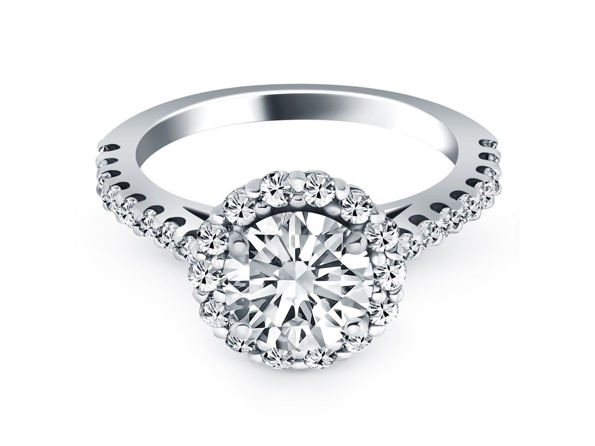 Cathedral Engagement Ring With Micro Prong Diamond Halo In