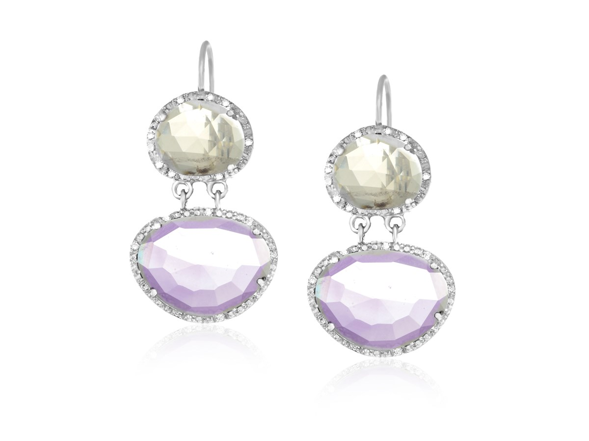 Amethyst Rose Quartz Amp Diamond Layered Earrings In