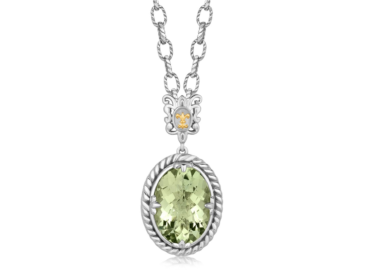 Oval Green Amethyst Pendant Rhodium Plated Necklace In 18k