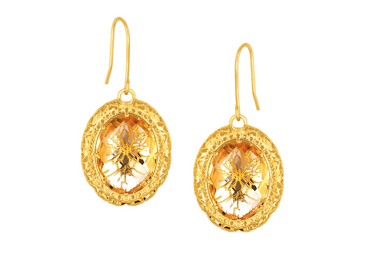Citrine Drop Earrings Yellow Gold Oval Citrine Drop Earrings in