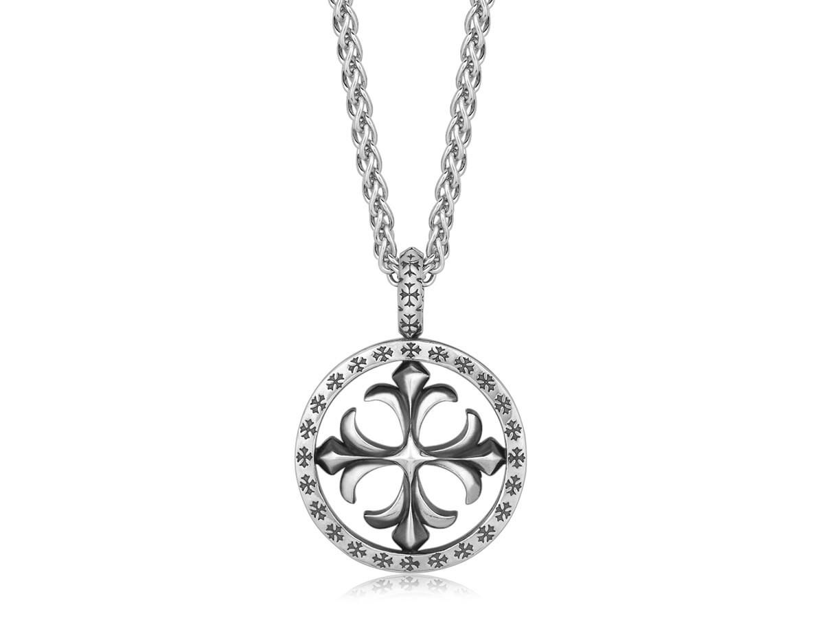 Round Fleur De Lis Cross Designed Men S Pendant In