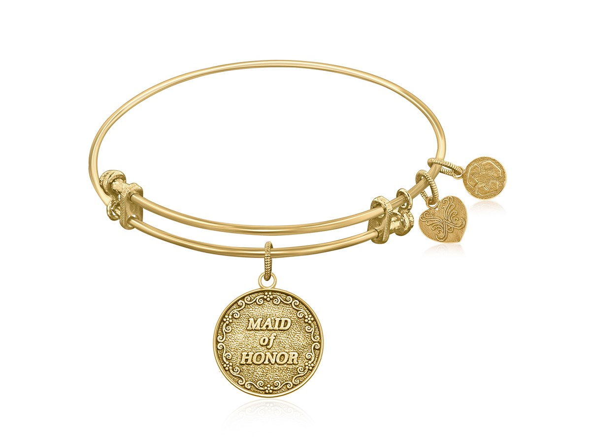 Expandable Yellow Tone Brass Bangle With Maid Of Honor