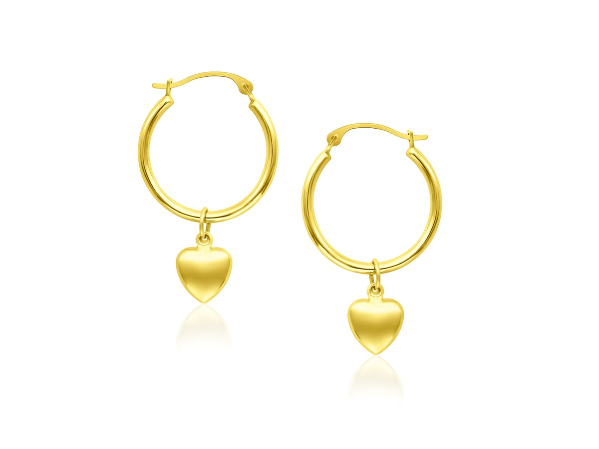 hoop with puffed heart charm earrings in 14k yellow gold