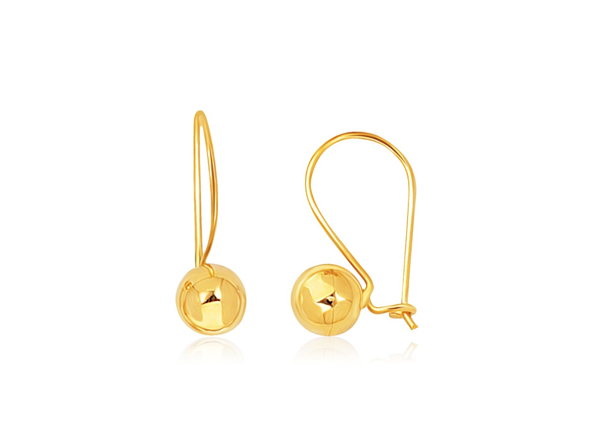 High Polished Ball Drop Earrings In 14k Yellow Gold