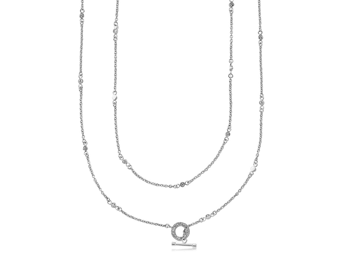 Crystal Accented Station Long Chain Necklace In Rhodium