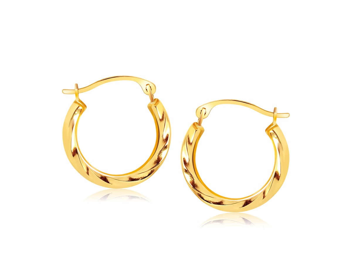 Textured Polished Round Hoop Earrings In 14k Yellow Gold