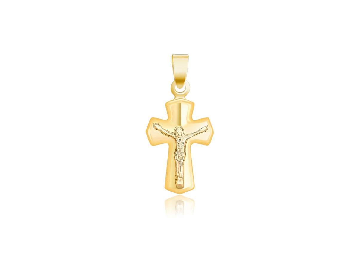 small cross pendant with figure in 14k yellow gold