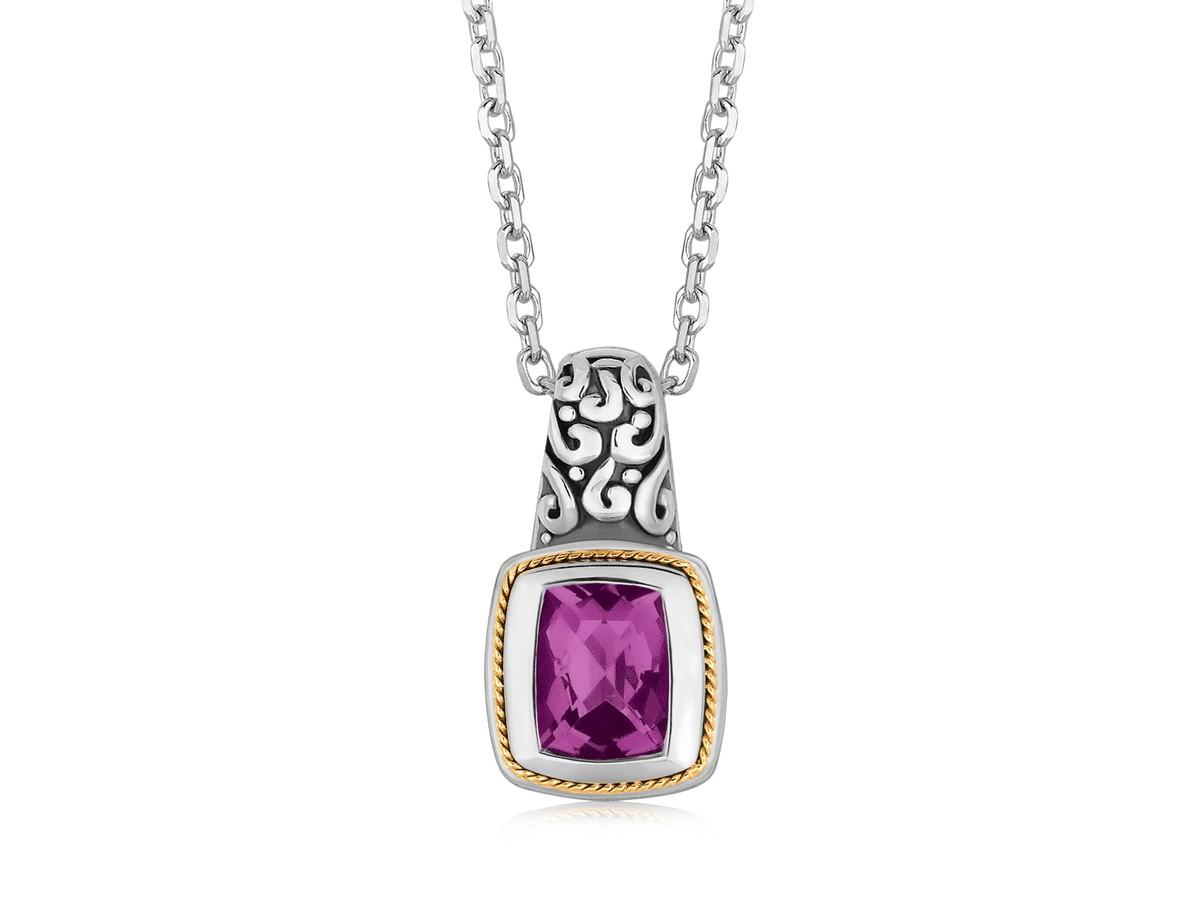 Rectangular Amethyst Milgrained Pendant Necklace In 18k