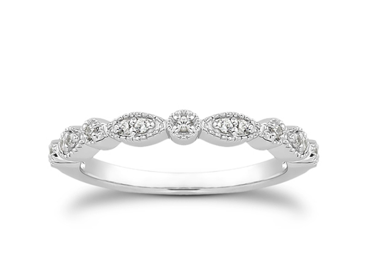 Fancy pave diamond milgrain wedding ring band in 14k white for Pave wedding rings