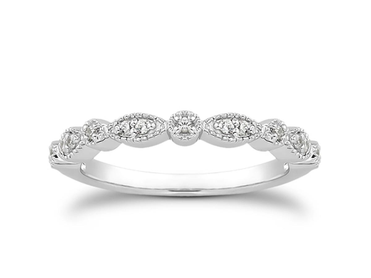 fancy pave diamond milgrain wedding ring band in 14k white gold - Fancy Wedding Rings