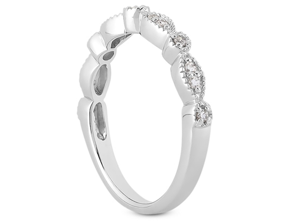Fancy Pave Diamond Milgrain Wedding Ring Band in 14K White Gold milgrain wedding band Fancy Pave Diamond Milgrain Wedding Ring Band in 14K White Gold