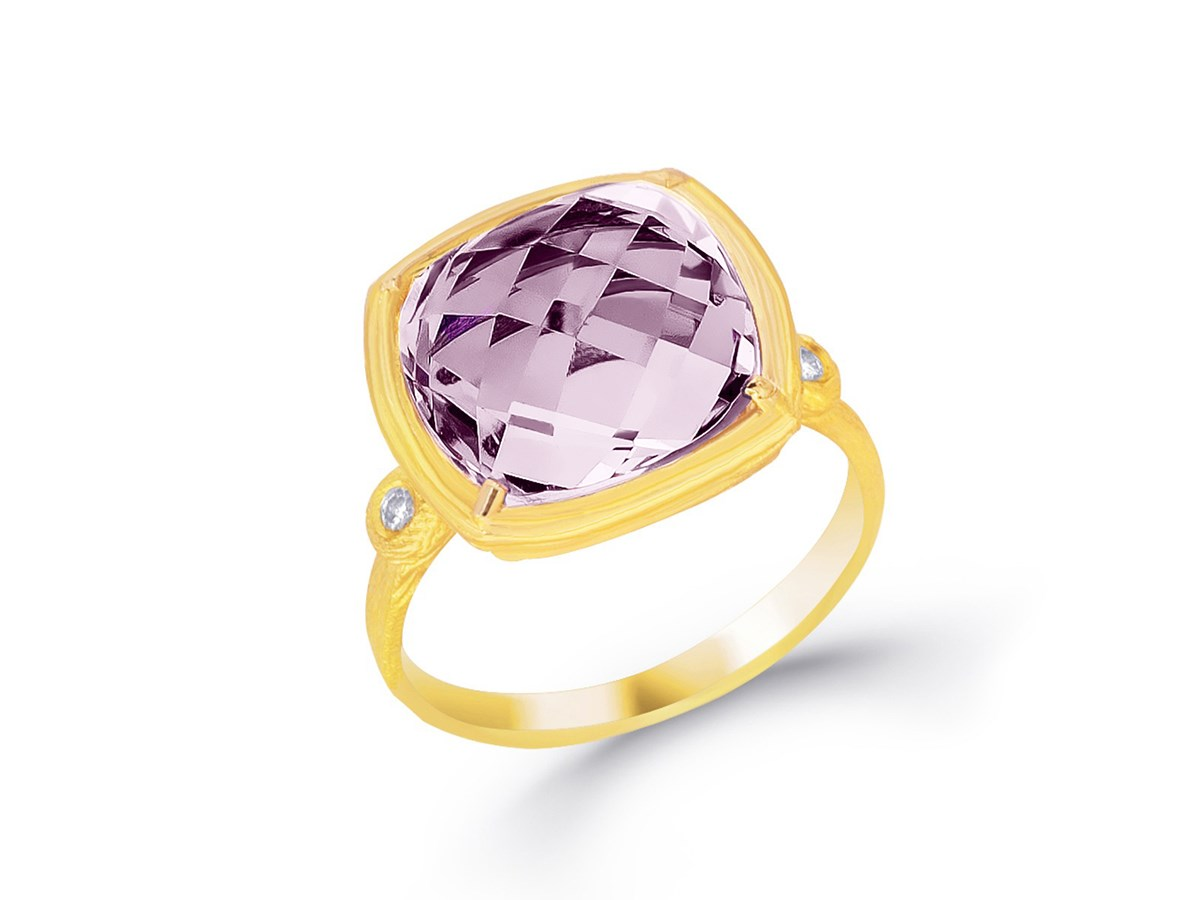 Amethyst Stone Square Cushion Ring In 14k Yellow Gold
