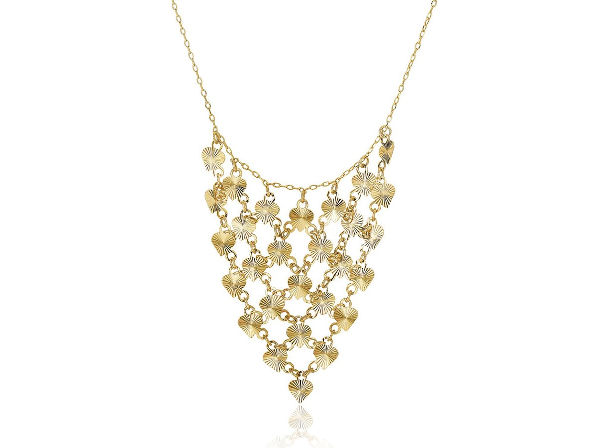Diamond Cut Heart Bib Style Necklace In 14k Yellow Gold Richard Cannon Jewelry