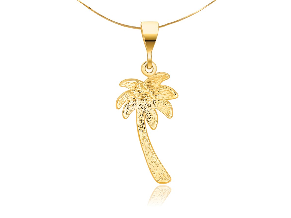 palm tree pendant in 14k yellow gold richard cannon jewelry