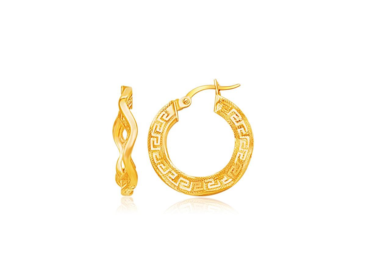 Curvy Greek Key Small Hoop Earrings In 14k Yellow Gold