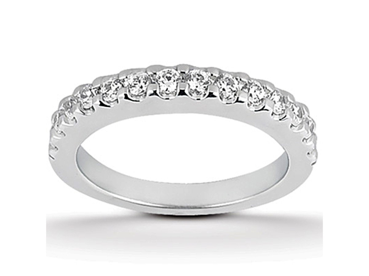 shared prong diamond wedding ring band in 14k white gold - Wedding Ring Band