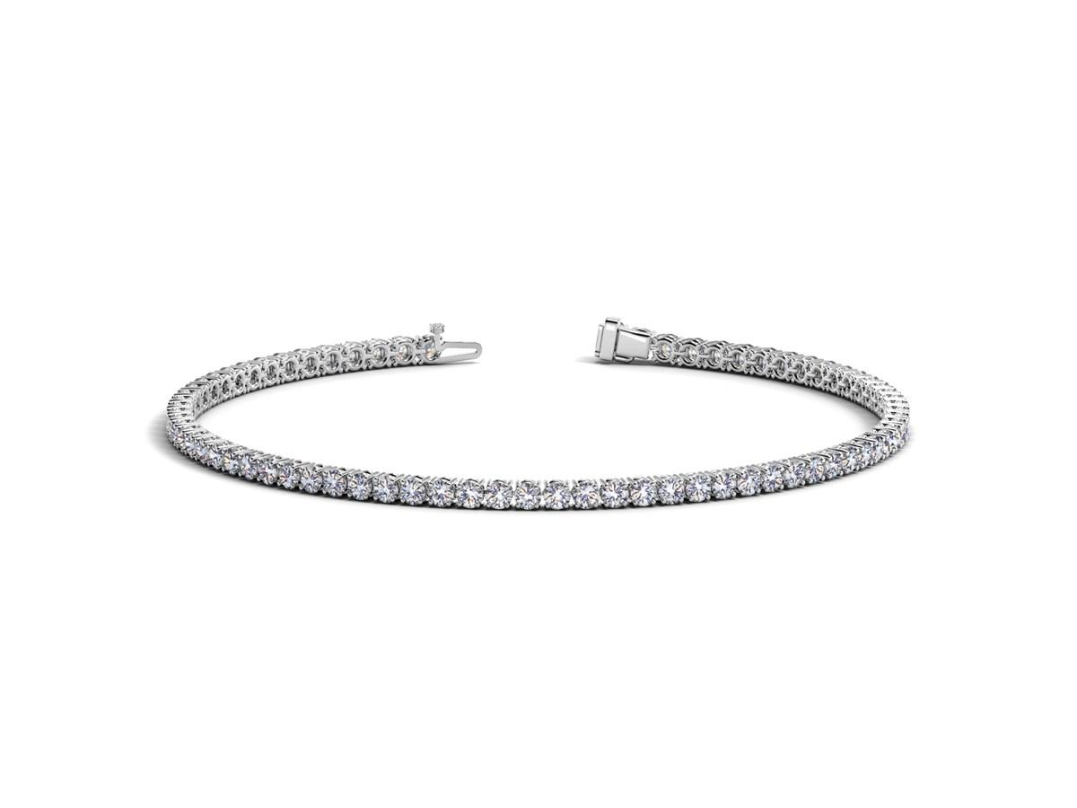 Round Diamond Tennis Bracelet In 14k White Gold 2 Cttw