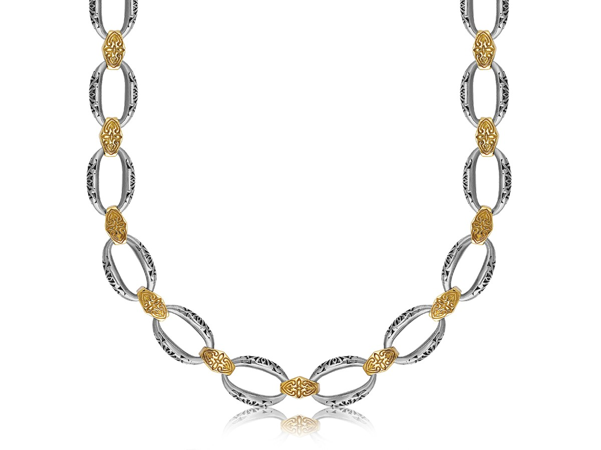 Filigree Look Chain Necklace In 18k Yellow Gold And