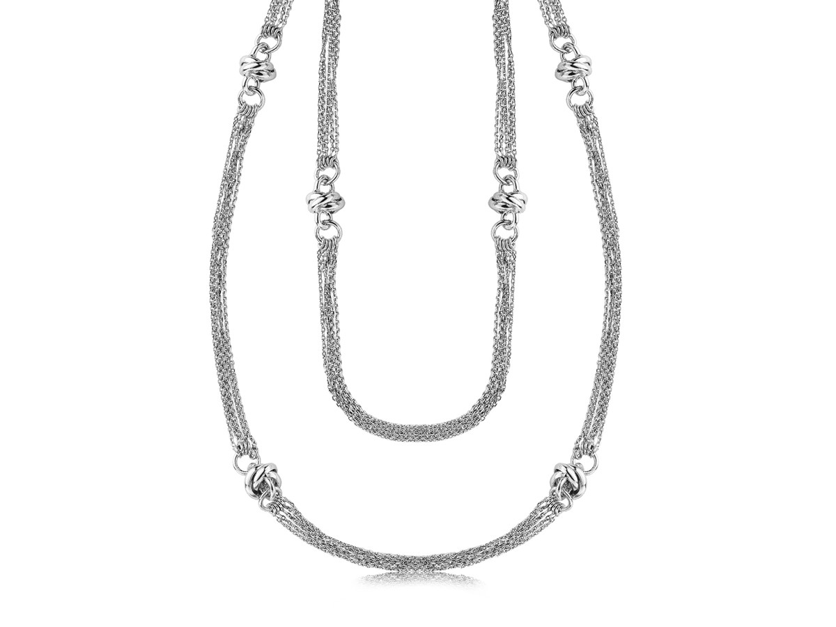 Knot Station Multi Strand Long Chain Necklace In Rhodium