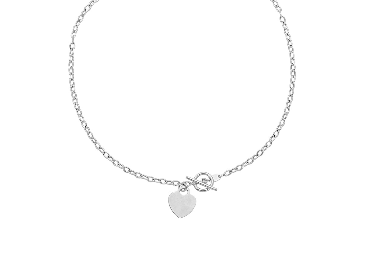 heart accent toggle necklaces in 14k white gold richard. Black Bedroom Furniture Sets. Home Design Ideas