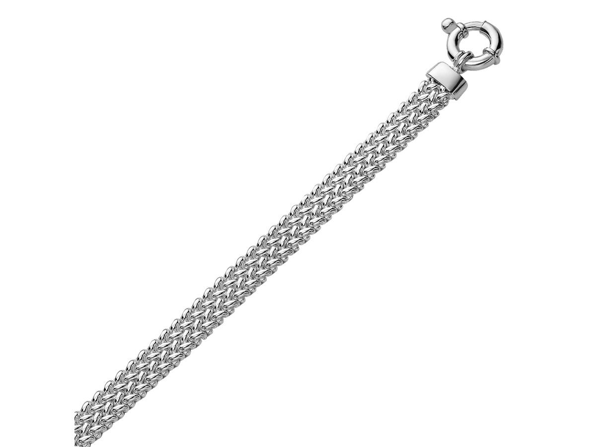 Popcorn Style Flat Chain Bracelet In Rhodium Plated