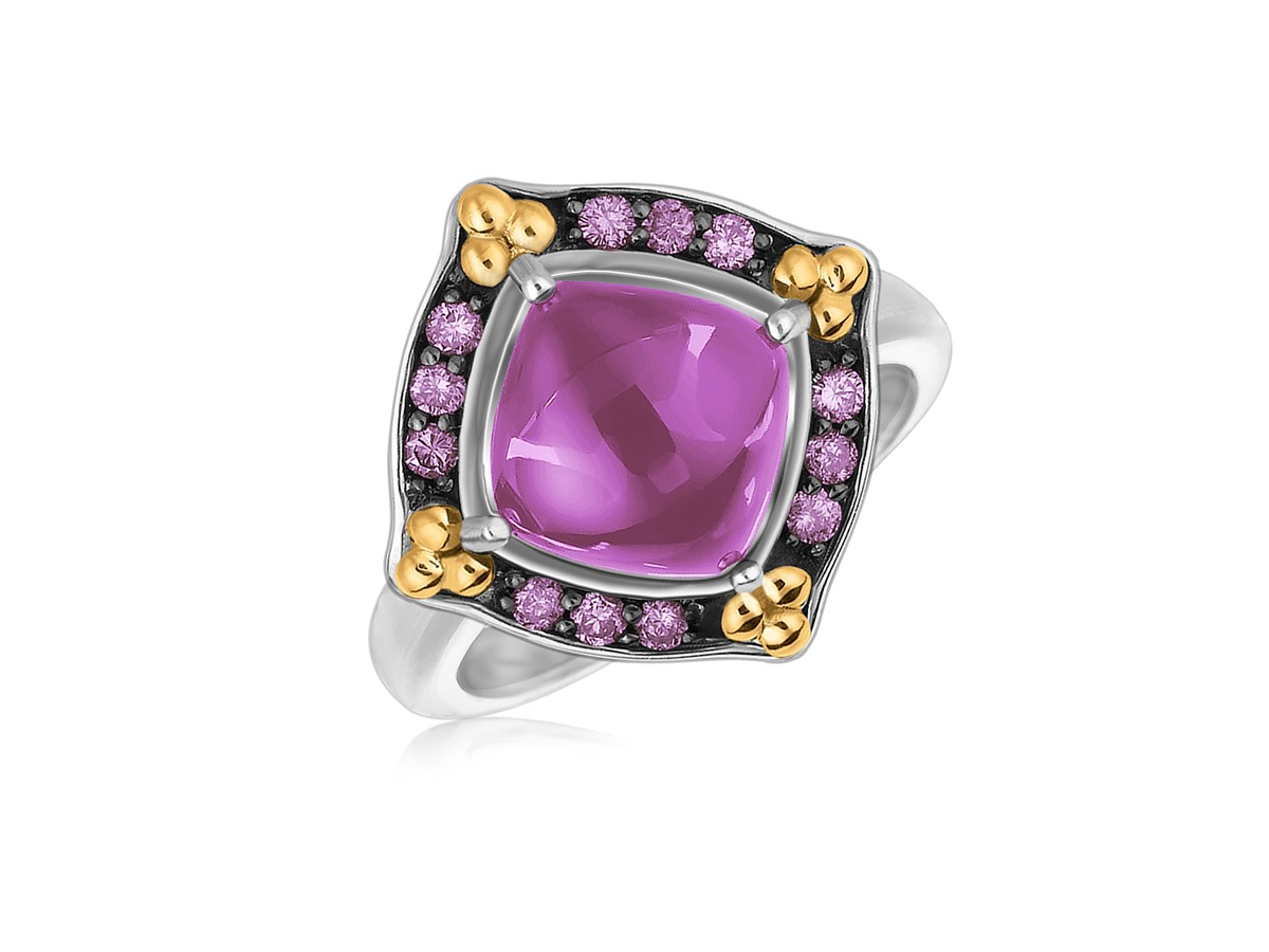 Fancy Square Amethyst And Pink Sapphire Cabochon Ring In