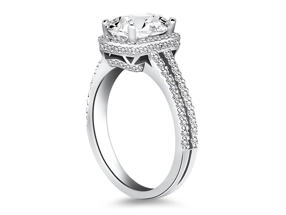 Emerald Cut Diamond Halo Split Shank Engagement Ring