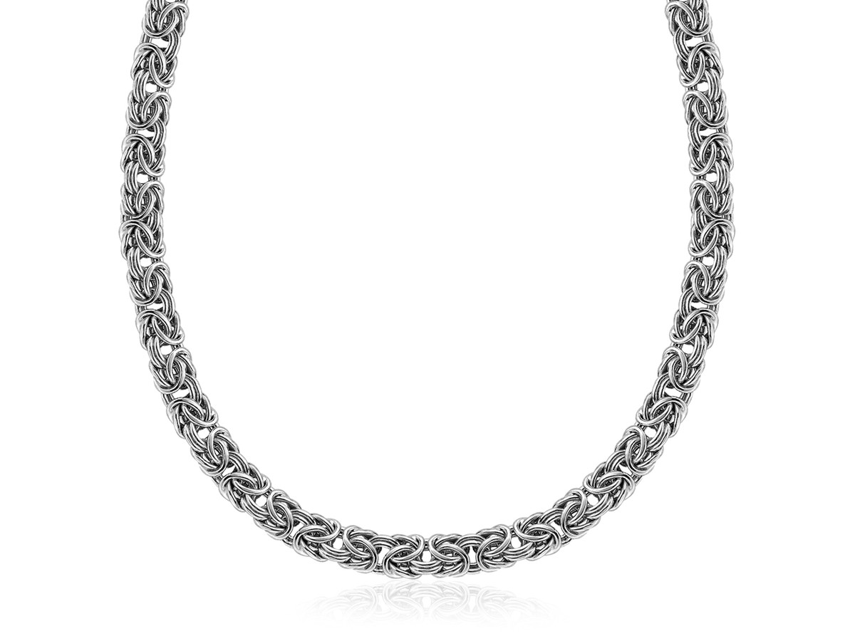 Fancy Classic Byzantine Style Chain Necklace In Rhodium