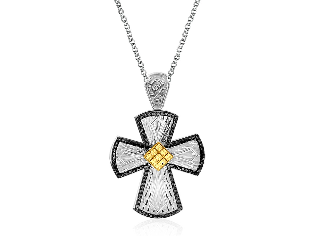 Diamond Cut Rounded Cross Pendant With Black Crystal In