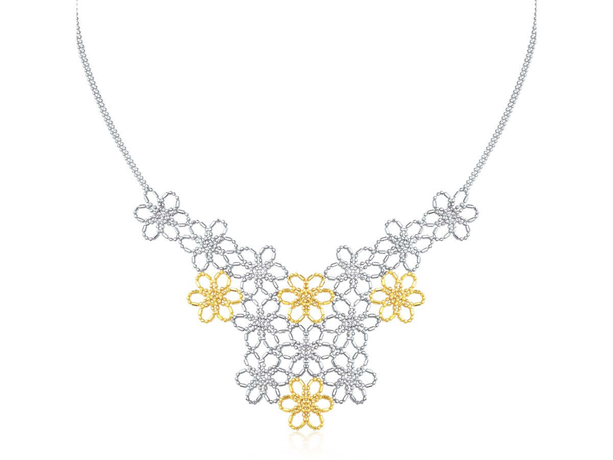 Flower Cluster Beaded Necklace In 14k Yellow Gold