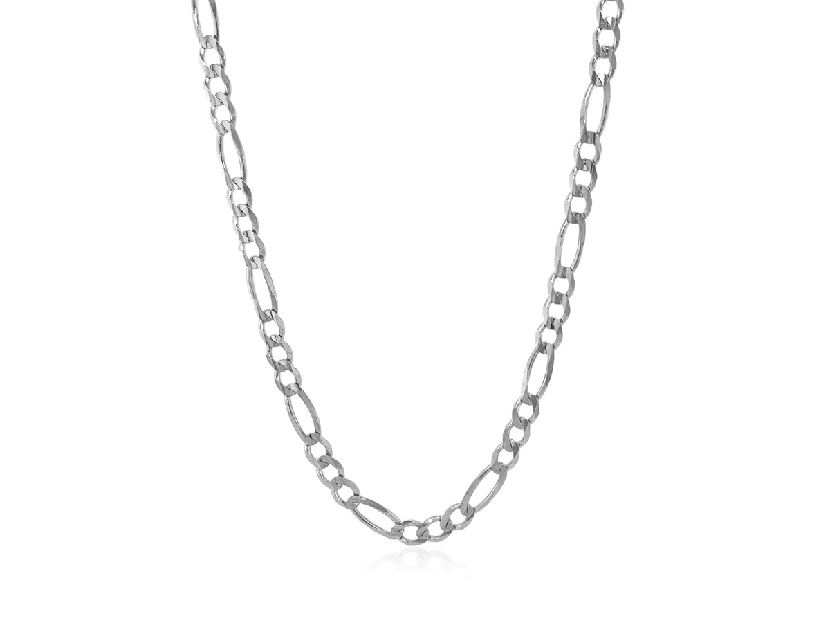 Solid Figaro Chain In 14k White Gold 3 8mm Richard