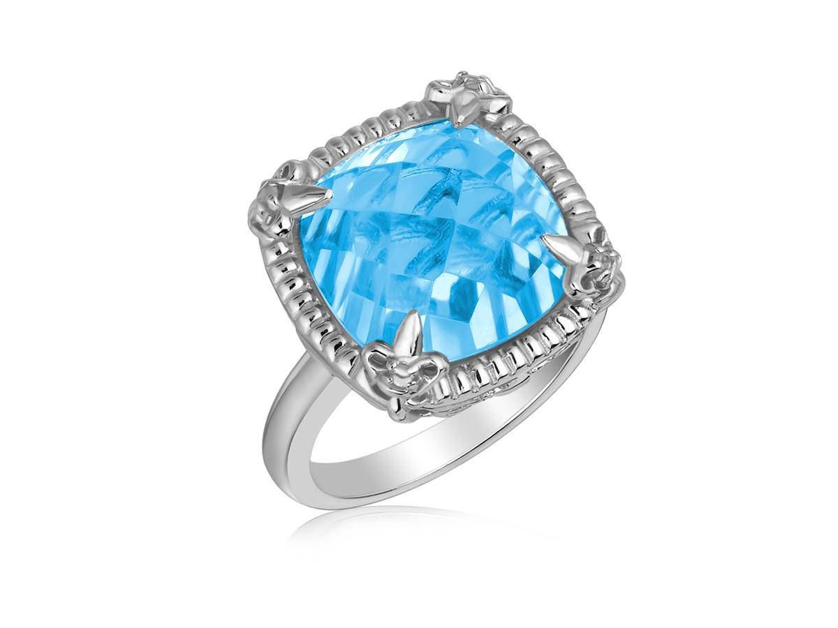 Sky Blue Topaz And White Sapphires Fleur De Lis Ring In