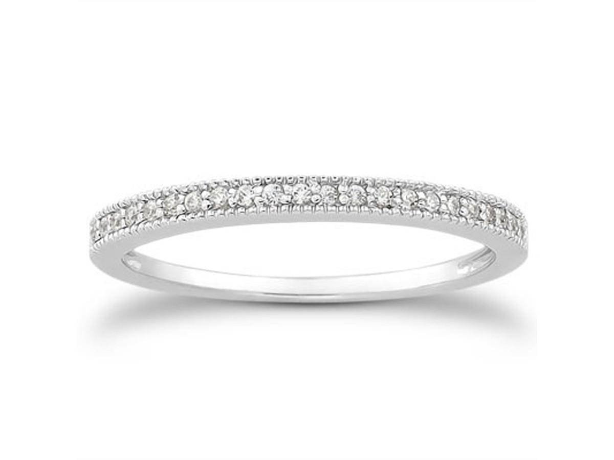 Diamond Micro Pave Diamond Milgrain Wedding Ring Band In 14K White Gold