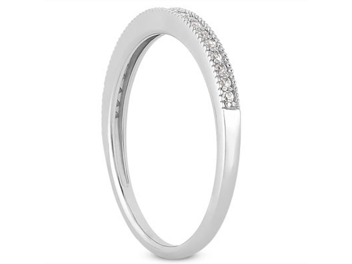 Diamond Micro- Pave Diamond Milgrain Wedding Ring Band in 14K ...