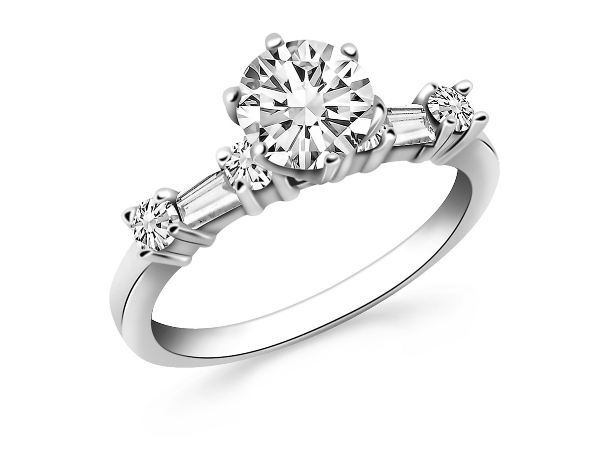 Engagement Ring Mounting with Round and Baguette Diamonds ...