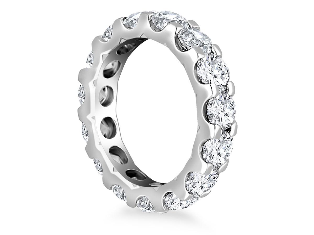 Round Diamond Adorned Eternity Ring In 14k White Gold