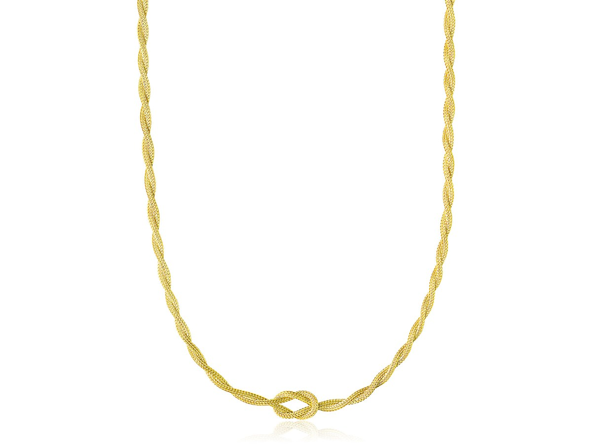 Braided Wheat Chain With Knot Necklace In 14k Yellow Gold