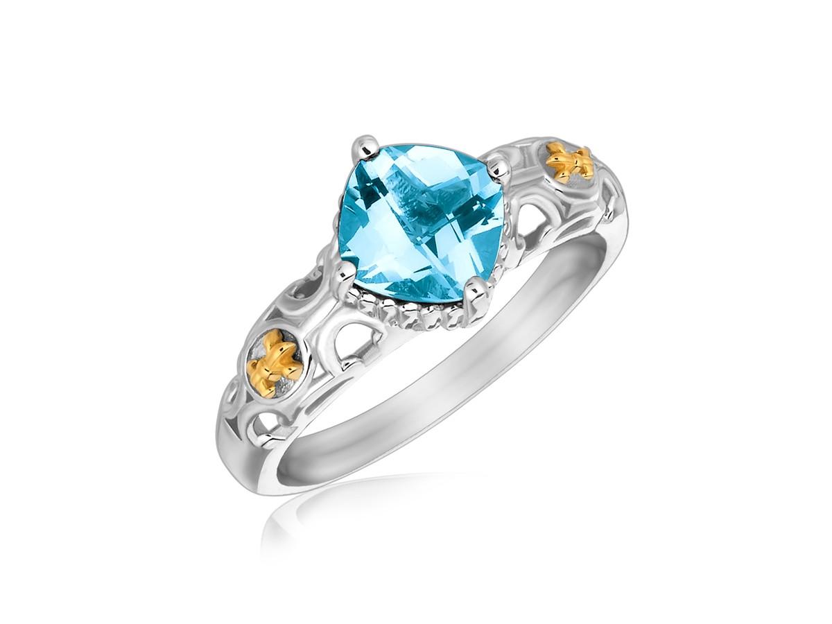 Square Blue Topaz Fleur De Lis Style Ring In 18k Yellow